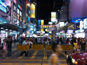 Mong Kok street scene at night