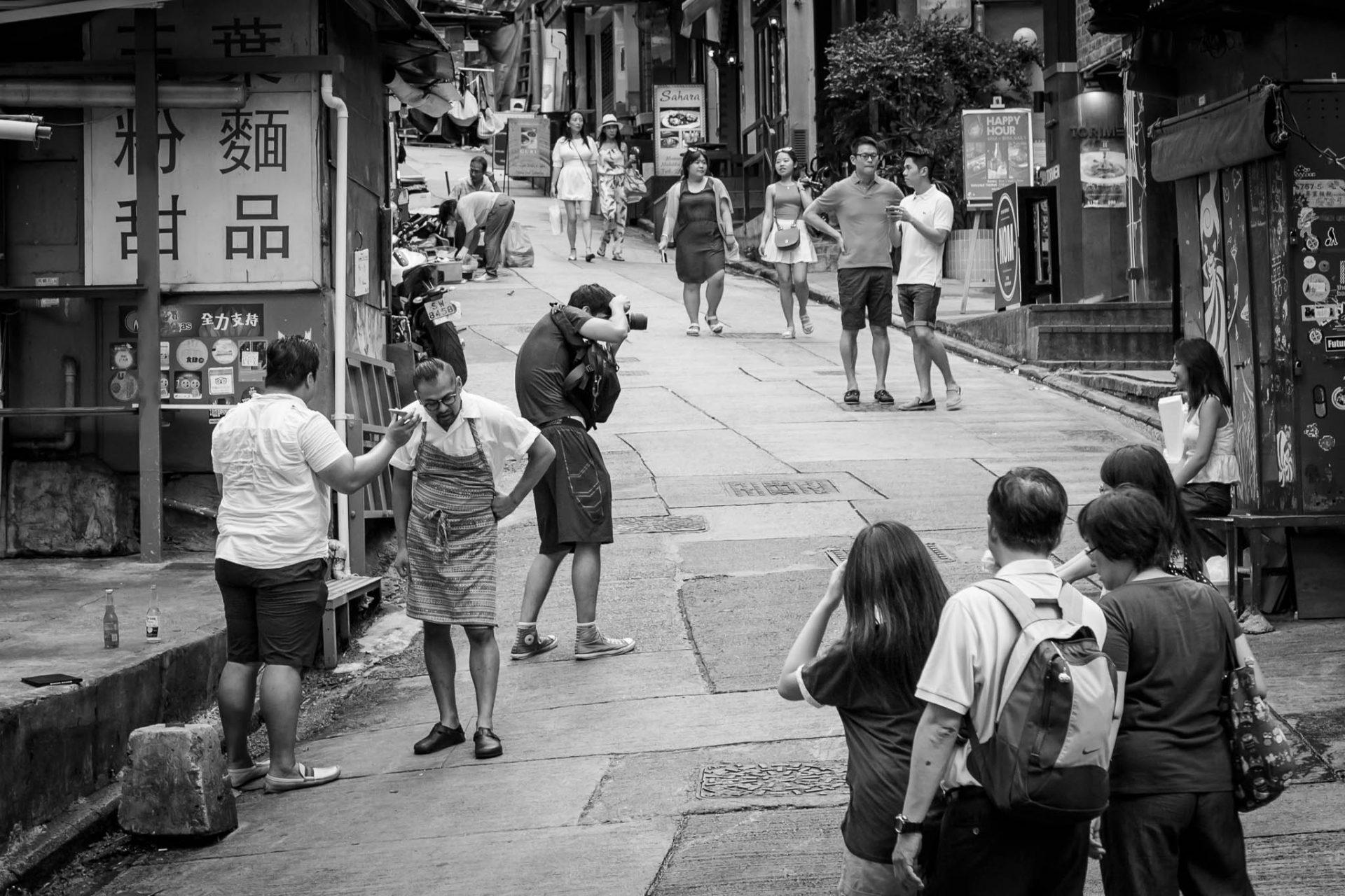 Street scene. Elgin Street, Hong Kong