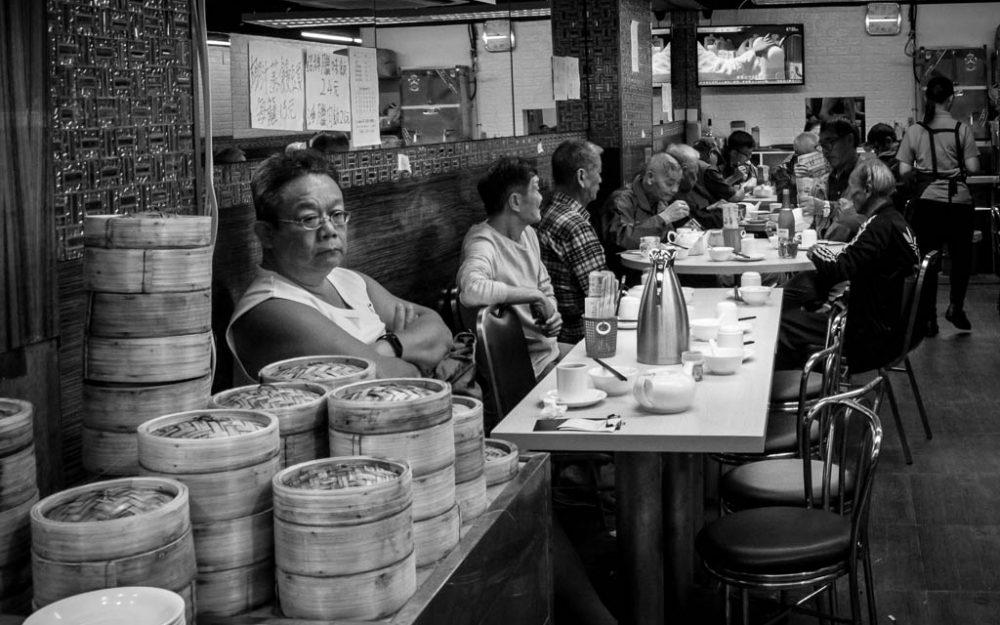 man in a dim sum restaurant