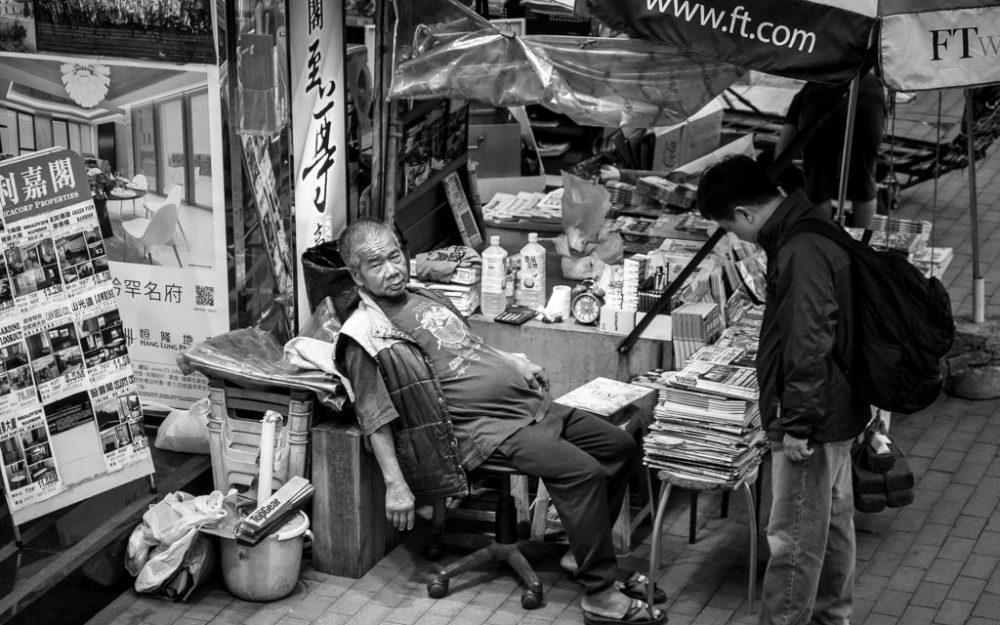 newspaper vendor, Causeway Bay, Hong Kong, 2017.